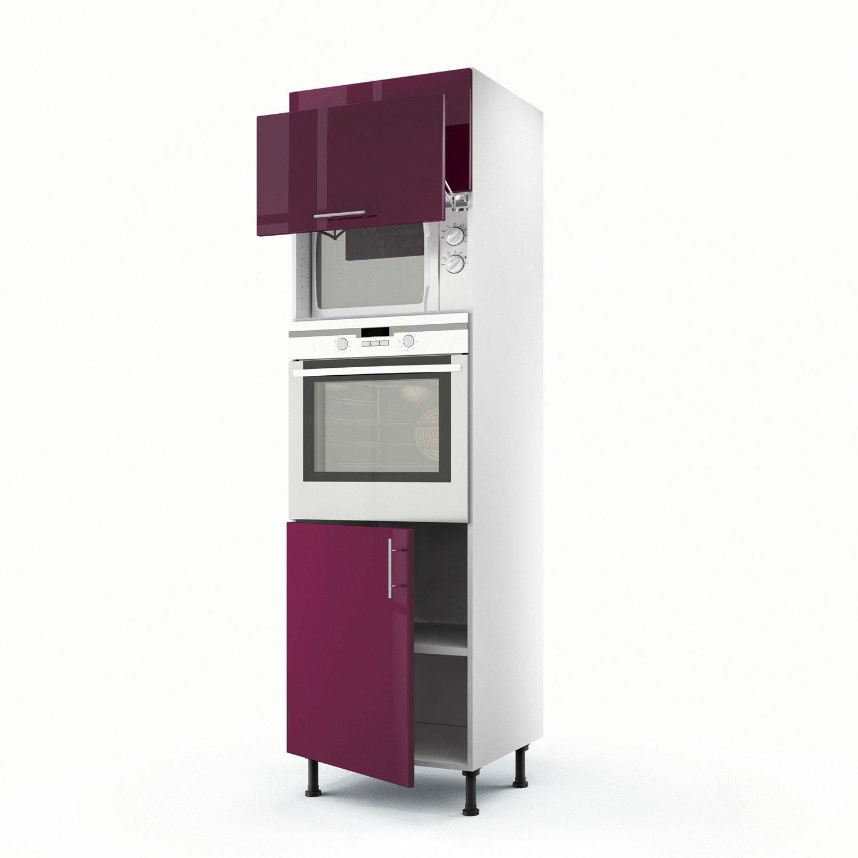 meuble de cuisine colonne violet 3 portes rio x x cm leroy merlin. Black Bedroom Furniture Sets. Home Design Ideas