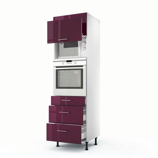 Meuble de cuisine colonne violet 2 portes 3 tiroirs rio for Meuble colonne cuisine but