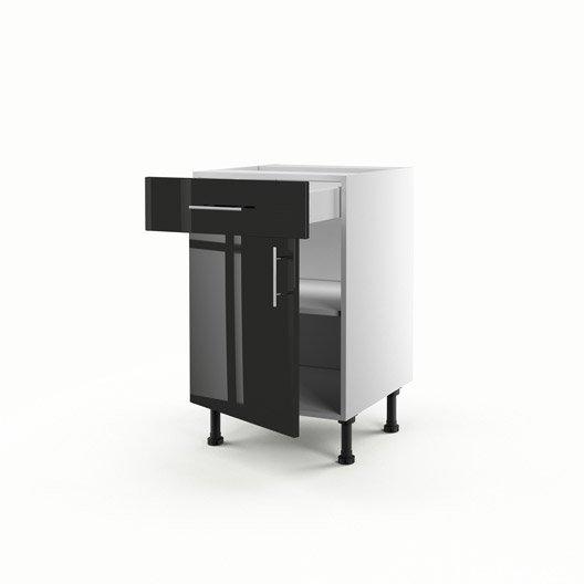 Meuble de cuisine bas noir 1 porte 1 tiroir rio x l for Meuble cuisine hauteur 70 cm