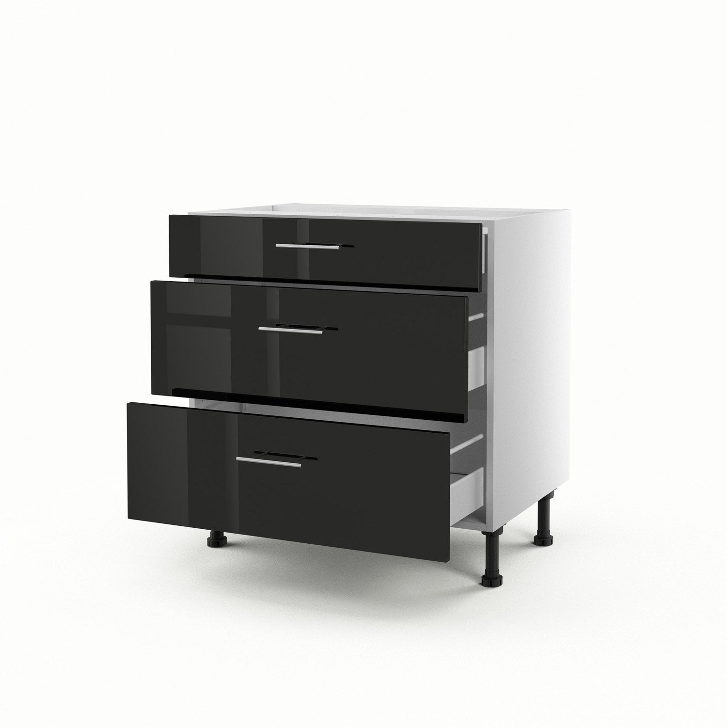 meuble de cuisine bas noir 3 tiroirs rio x x p. Black Bedroom Furniture Sets. Home Design Ideas