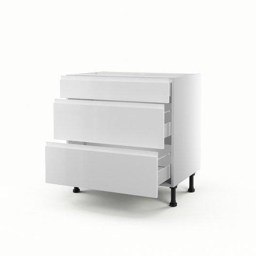 meuble de cuisine bas blanc 3 tiroirs graphic x x cm leroy merlin. Black Bedroom Furniture Sets. Home Design Ideas
