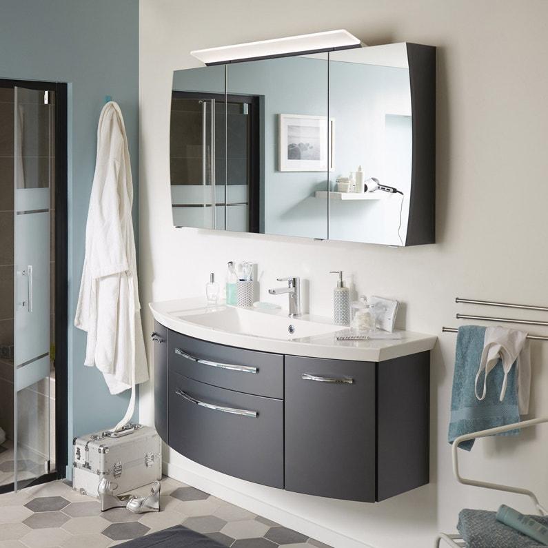 Meuble de salle de bains l.129 x H.48.2 x P.48 cm, gris métal, Image