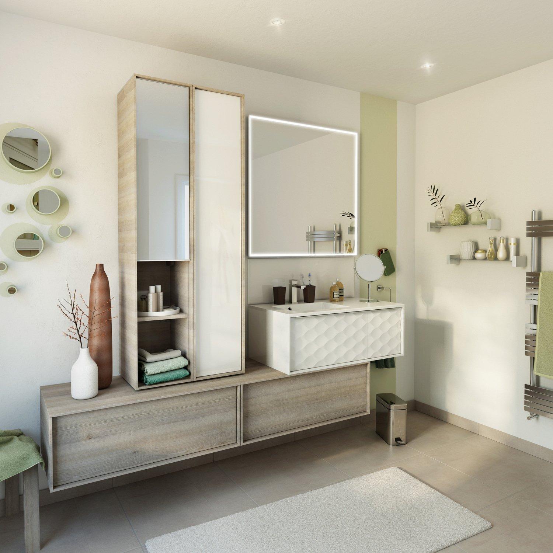une salle de bains blanche et bois pour un esprit chic et nature leroy merlin. Black Bedroom Furniture Sets. Home Design Ideas