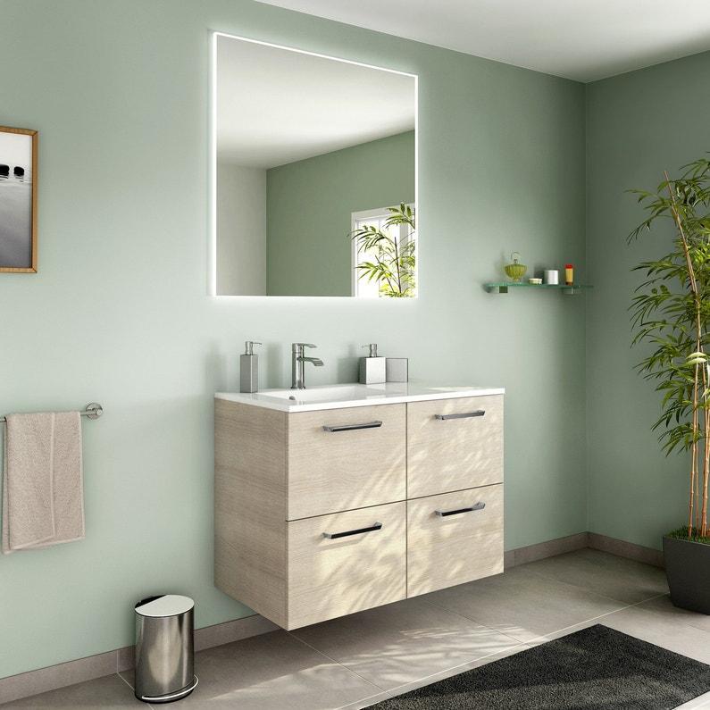 Meuble de salle de bains ch ne naturel leroy merlin for Meuble chene salle de bain