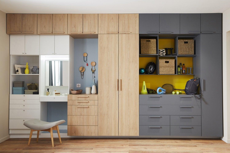 un dressing en angle pour optimiser le rangement et l. Black Bedroom Furniture Sets. Home Design Ideas
