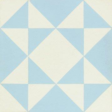 Carreau de ciment Belle époque décor alix bleu et blanc, l.20.0 x L.20.0 cm