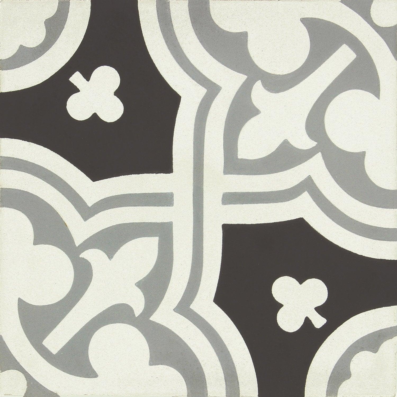 carreau de ciment belle poque d cor eva gris noir et blanc x cm leroy merlin. Black Bedroom Furniture Sets. Home Design Ideas