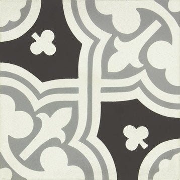 Carreau de ciment Belle époque décor eva gris, noir et blanc, l.20.0 x L.20.0 cm