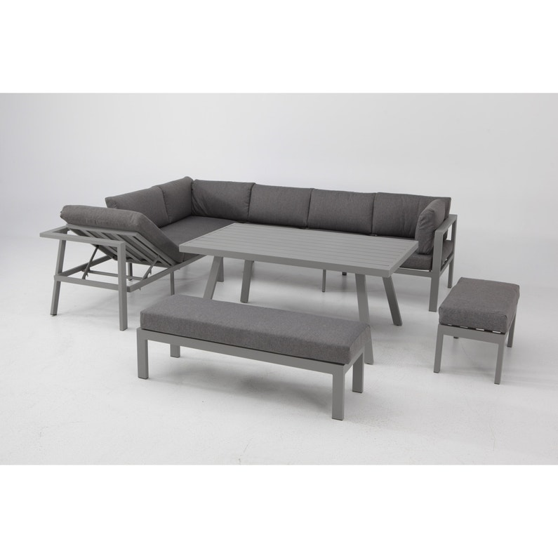 Salon bas de jardin Naxos aluminium gris, 9 personnes | Leroy Merlin
