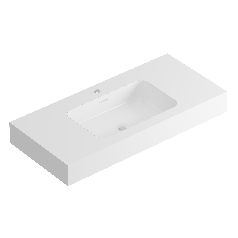 Plan vasque simple Série duo Pierre blanc l.101 | Leroy Merlin