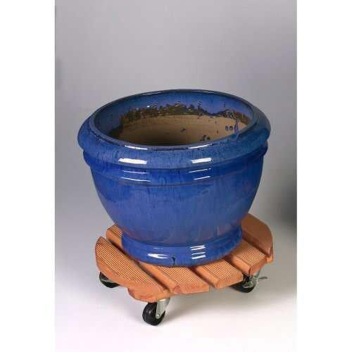 Support Pot Avec Roulette Rond Bois H10 X L40 Cm
