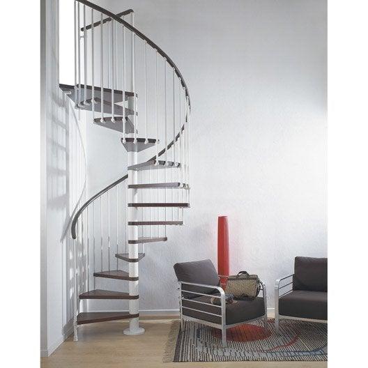 Escalier Ring, colimaçon rond en bois et métal, 13 marches
