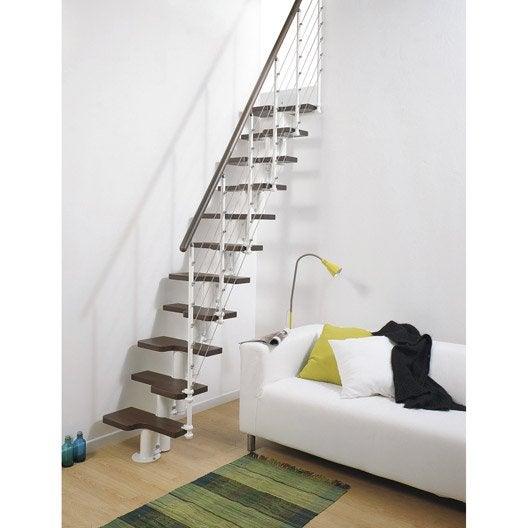 Escalier droit mini line marches bois structure m tal - Montage escalier leroy merlin ...
