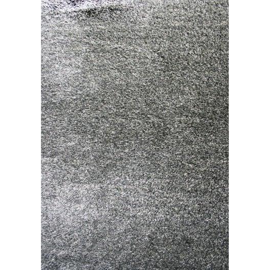 Tapis gris shaggy zelia x cm leroy merlin - Tapis shaggy gris argent ...