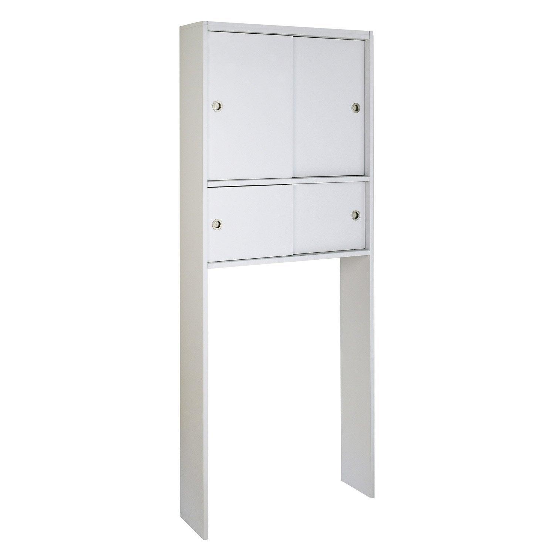 Meuble pour WC à poser l.76 x H.190 x P.22 cm blanc, SENSEA Remix ...