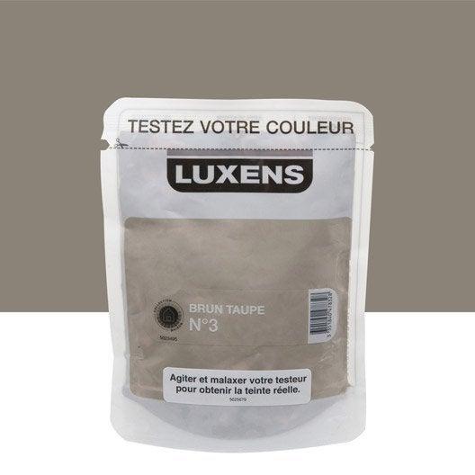 Testeur peinture brun taupe 3 luxens couleurs int rieures satin l leroy merlin for Peinture brun taupe