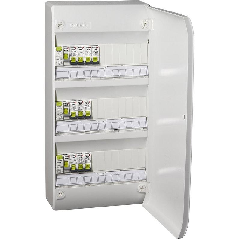 Tableau électrique équipé Et Précâblé Lexman 3 Rangées 39 Modules
