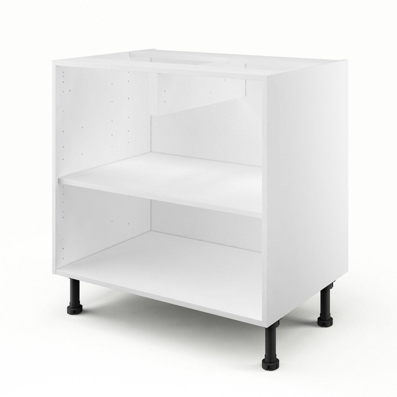 caisson de cuisine bas b80 delinia blanc l.80 x h.85 x p.56 cm