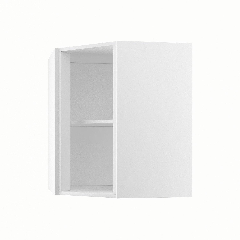 caisson de cuisine haut d'angle ah 60/70 delinia blanc l.60 x h.70 ... - Placard D Angle Salle De Bain
