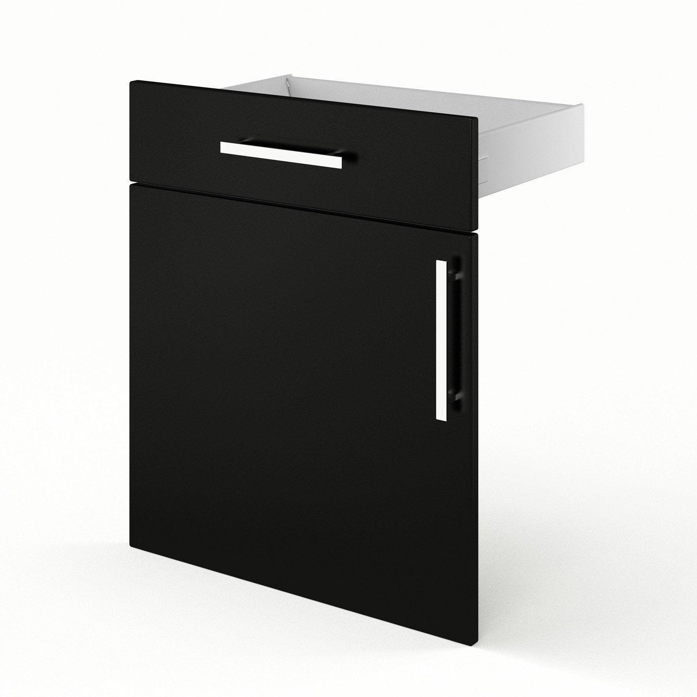 Porte et tiroir de cuisine noir d lice x x for Porte 60 cm cuisine