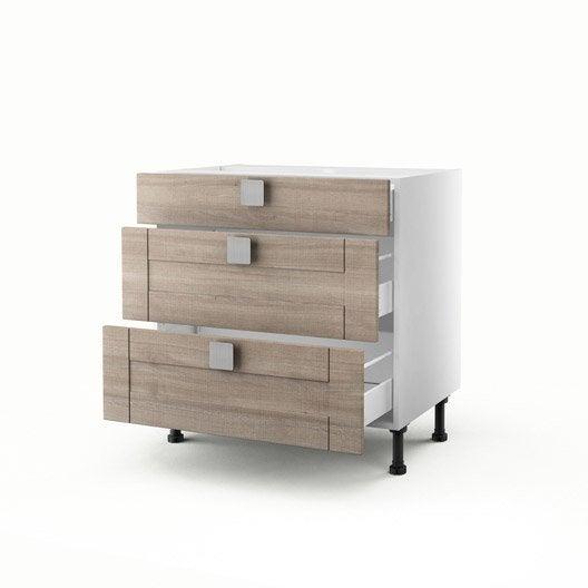 meuble de cuisine bas d cor ch ne blanchi 3 tiroirs karrey. Black Bedroom Furniture Sets. Home Design Ideas