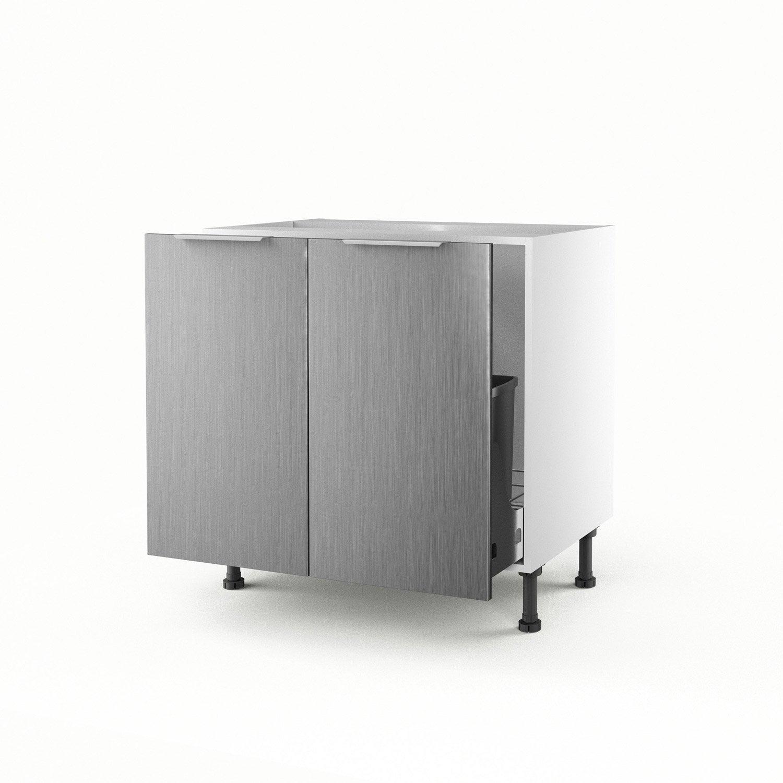 Meuble de cuisine sous vier d cor aluminium 2 portes stil for Porte cuisine aluminium