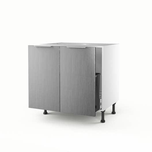meuble de cuisine sous vier d cor aluminium 2 portes stil x x cm leroy merlin. Black Bedroom Furniture Sets. Home Design Ideas