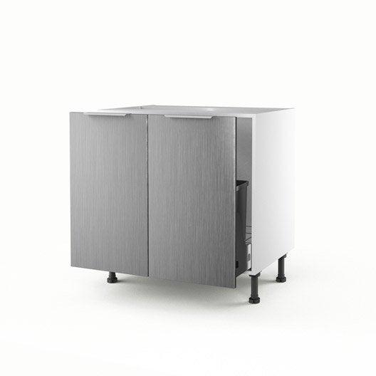 meuble de cuisine sous vier d cor aluminium 2 portes stil h70xl80xp56 cm leroy merlin. Black Bedroom Furniture Sets. Home Design Ideas