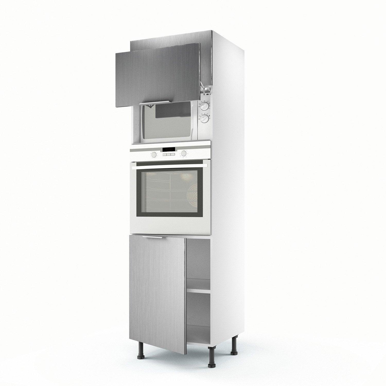 Meuble de cuisine colonne d cor aluminium 3 portes stil h for Meuble aluminium cuisine