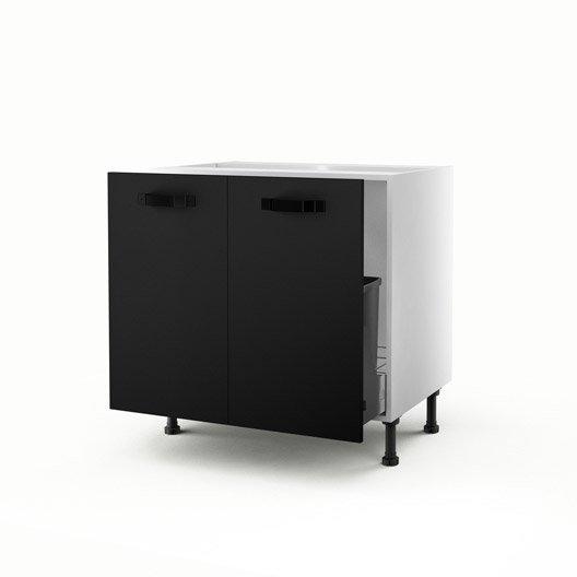 Meuble de cuisine sous vier noir 2 portes mat edition h for Meuble sous evier 80 cm