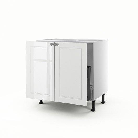 Meuble de cuisine sous vier blanc 2 portes chelsea x for Evier 70 cm cuisine