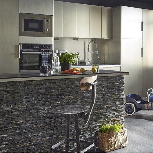plaquette de parement pierre naturelle noir stonepanel leroy merlin. Black Bedroom Furniture Sets. Home Design Ideas