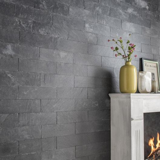 plaquette de parement pierre naturelle noir plume leroy merlin. Black Bedroom Furniture Sets. Home Design Ideas