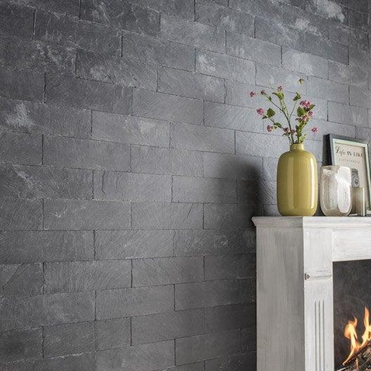 Plaquette de parement pierre naturelle noir plume leroy - Parement mural leroy merlin ...