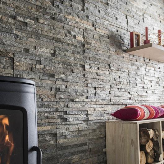 plaquette de parement pierre naturelle gris nuanc ohio leroy merlin. Black Bedroom Furniture Sets. Home Design Ideas