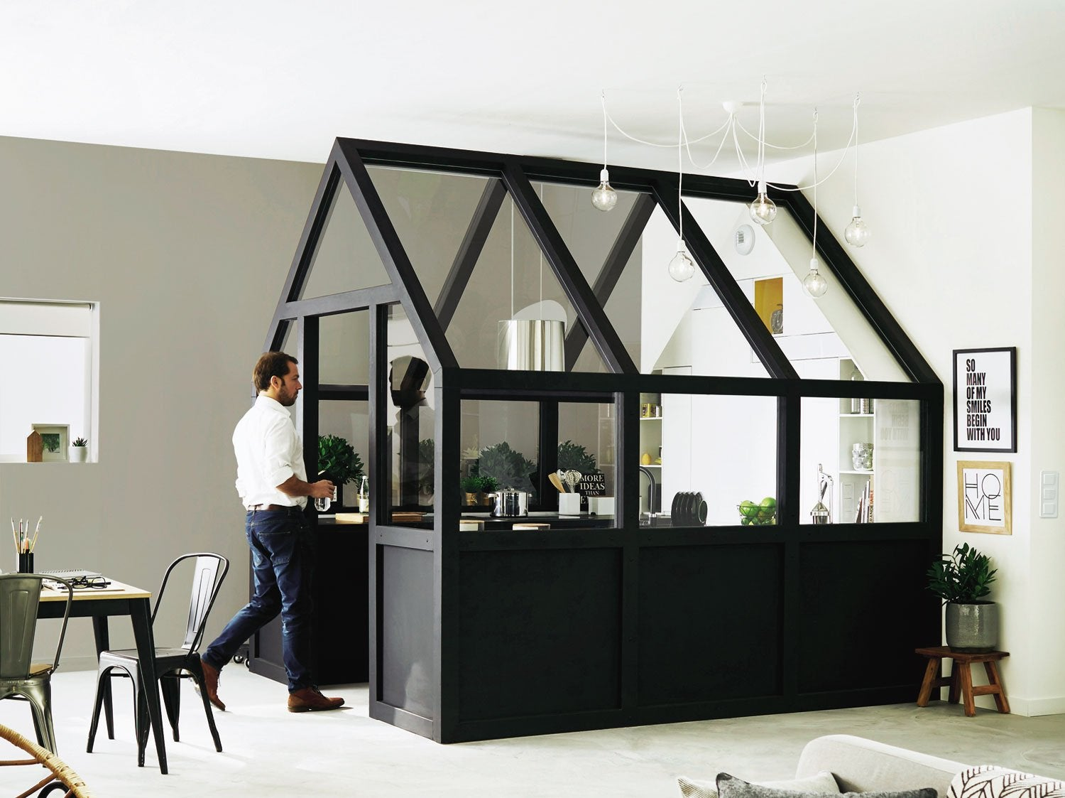 comment cr er une cuisine dans le s jour leroy merlin. Black Bedroom Furniture Sets. Home Design Ideas