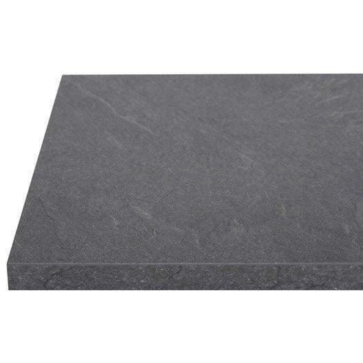 plan de travail stratifi luna noir mat x cm mm leroy merlin. Black Bedroom Furniture Sets. Home Design Ideas