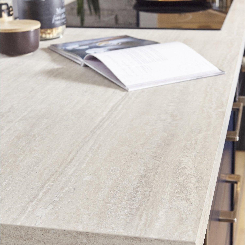 plan de travail stratifi effet travertin beige mat x cm mm leroy merlin. Black Bedroom Furniture Sets. Home Design Ideas