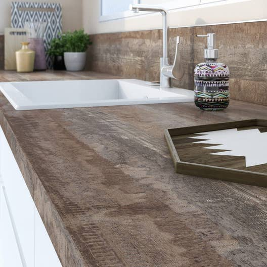 plan de travail stratifi new vintage wood mat x cm mm leroy merlin. Black Bedroom Furniture Sets. Home Design Ideas