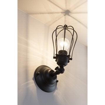 Applique Onesti, 1 x 60 W, métal noir, INSPIRE