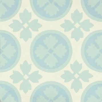 Carreau de ciment Belle époque décor alice bleu, vert et blanc, l.20 x L.20 cm