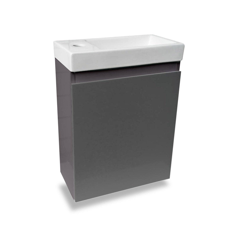 Comment Installer Un Lave Main Avec Meuble meuble lave-mains sans miroir, gris anthracite, l.40 x p.22 x h.48 cm nelys