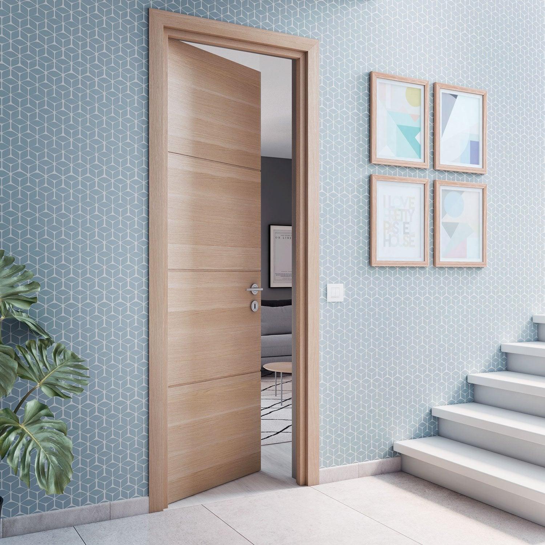 bloc porte m dium rev tu d cor ch ne clair madrid xxl 224x93cm poussant gauche leroy merlin. Black Bedroom Furniture Sets. Home Design Ideas
