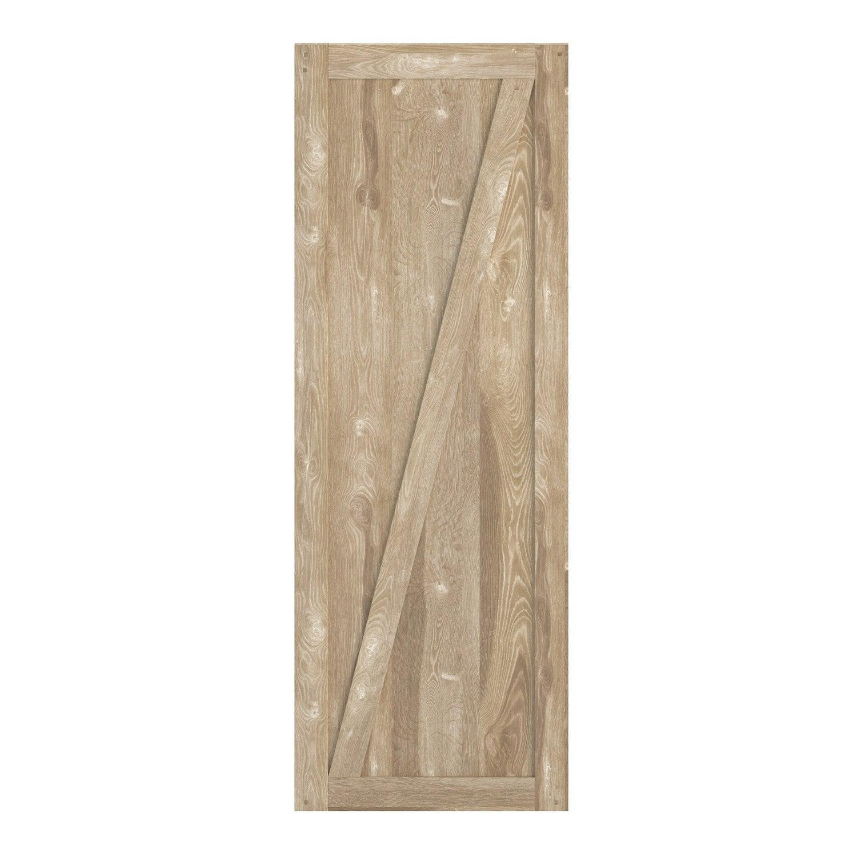 Porte coulissante chêne plaquée chêne chêne naturel Fanny ARTENS, H.204 x l.83 c