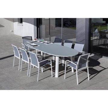 Table de jardin aluminium, bois, résine au meilleur prix   Leroy Merlin