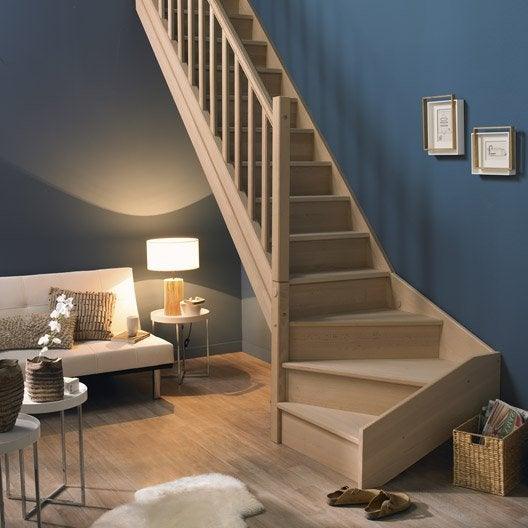 escalier nature avec contremarche quart tournant en bois 13 marches. Black Bedroom Furniture Sets. Home Design Ideas