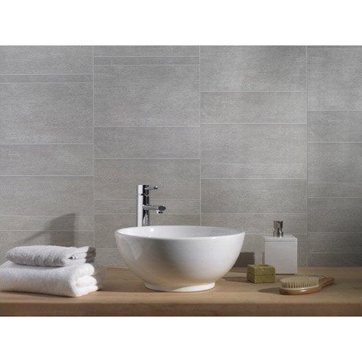 lambris pvc minéral gris moyen grosfillex l.260 x l.37.5 cm x ep.8 ... - Lambris Mural Salle De Bain