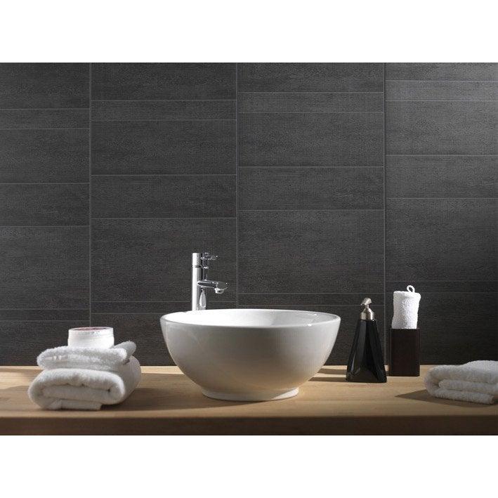 Lambris PVC Minéral Anthracite Moyen GROSFILLEX L X L Cm - Panneau mural salle de bain imitation carrelage