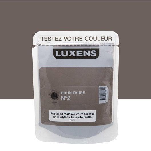 Testeur peinture brun taupe 2 luxens couleurs int rieures satin l leroy merlin for Peinture brun taupe