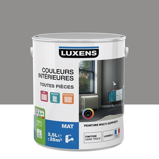 Peinture gris galet 3 luxens couleurs int rieures mat 2 5 for Peinture mur blanc mat ou satin